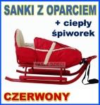PICCOLINO CZERWONE Sanki ze spiworkiem i oparciem