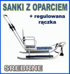 PICCOLINO SREBRNE Sanki z regulowana raczka OPARCIE